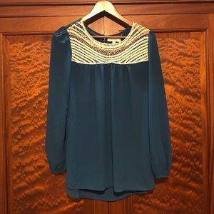 Blue Umgee crochet blouse- medium GUC